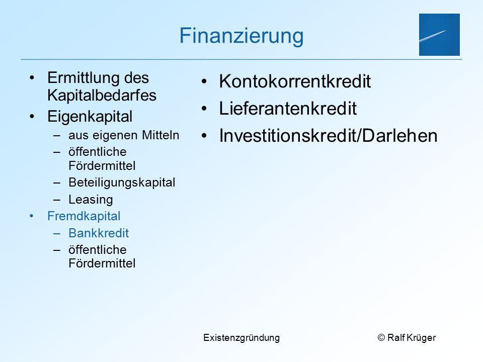 Finanzierung Kontokorrentkredit Lieferantenkredit