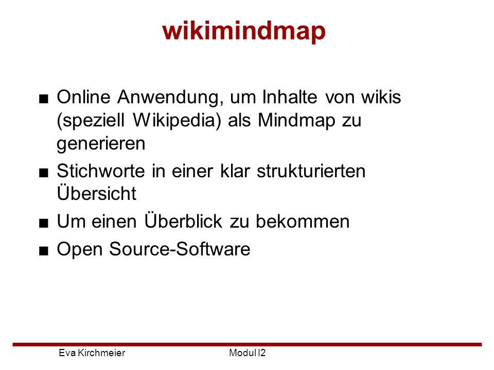 wikimindmap Online Anwendung, um Inhalte von wikis (speziell Wikipedia) als Mindmap zu generieren. Stichworte in einer klar strukturierten Übersicht.