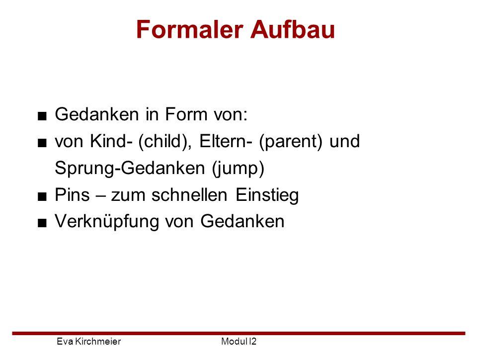 Formaler Aufbau Gedanken in Form von:
