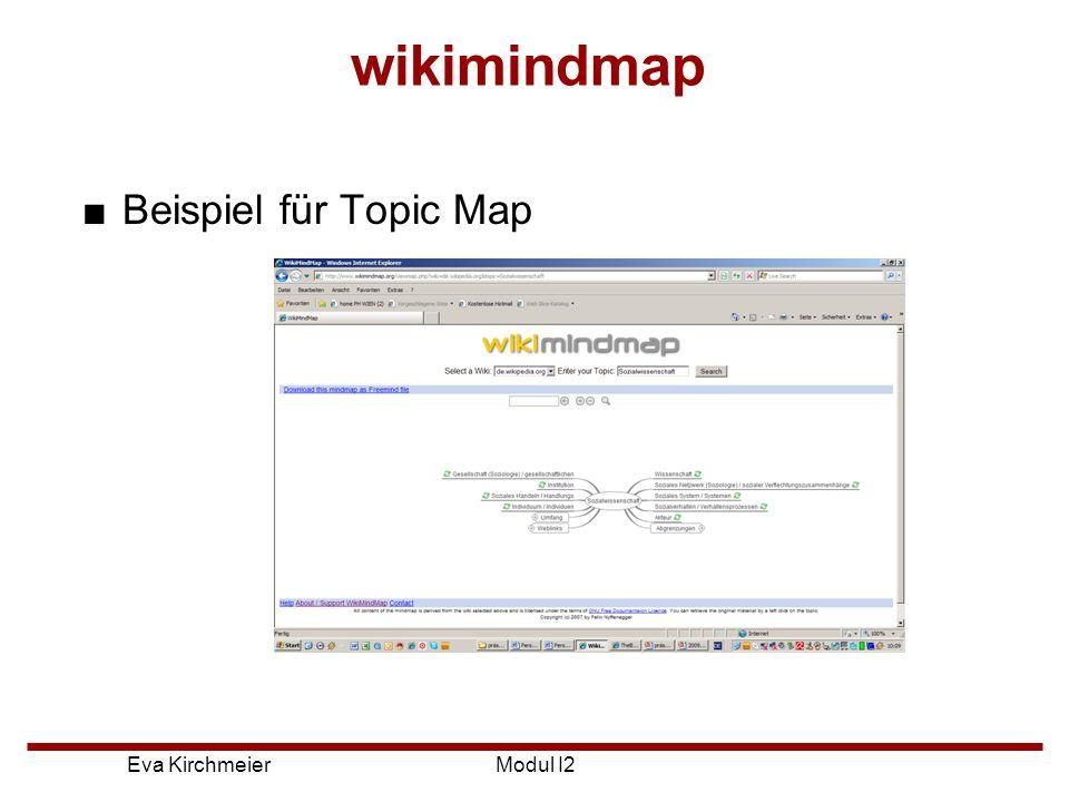 wikimindmap Beispiel für Topic Map Modul I2