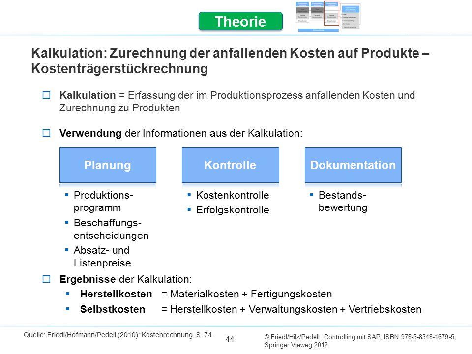 Theorie Kalkulation: Zurechnung der anfallenden Kosten auf Produkte – Kostenträgerstückrechnung.