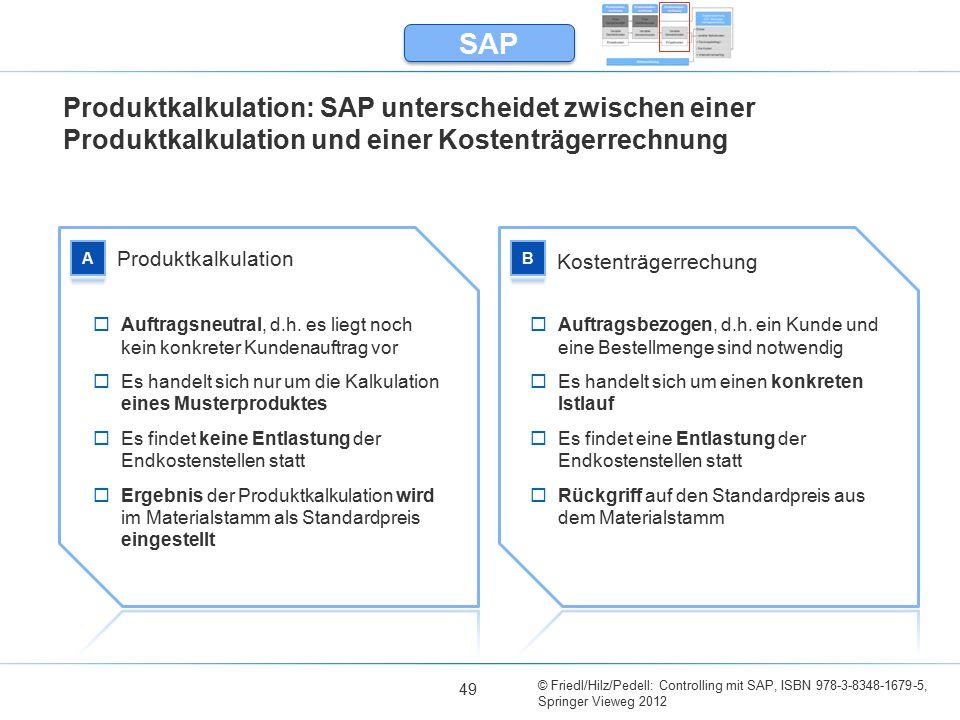 SAP Produktkalkulation: SAP unterscheidet zwischen einer Produktkalkulation und einer Kostenträgerrechnung.