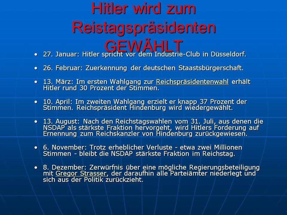 Hitler wird zum Reistagspräsidenten GEWÄHLT