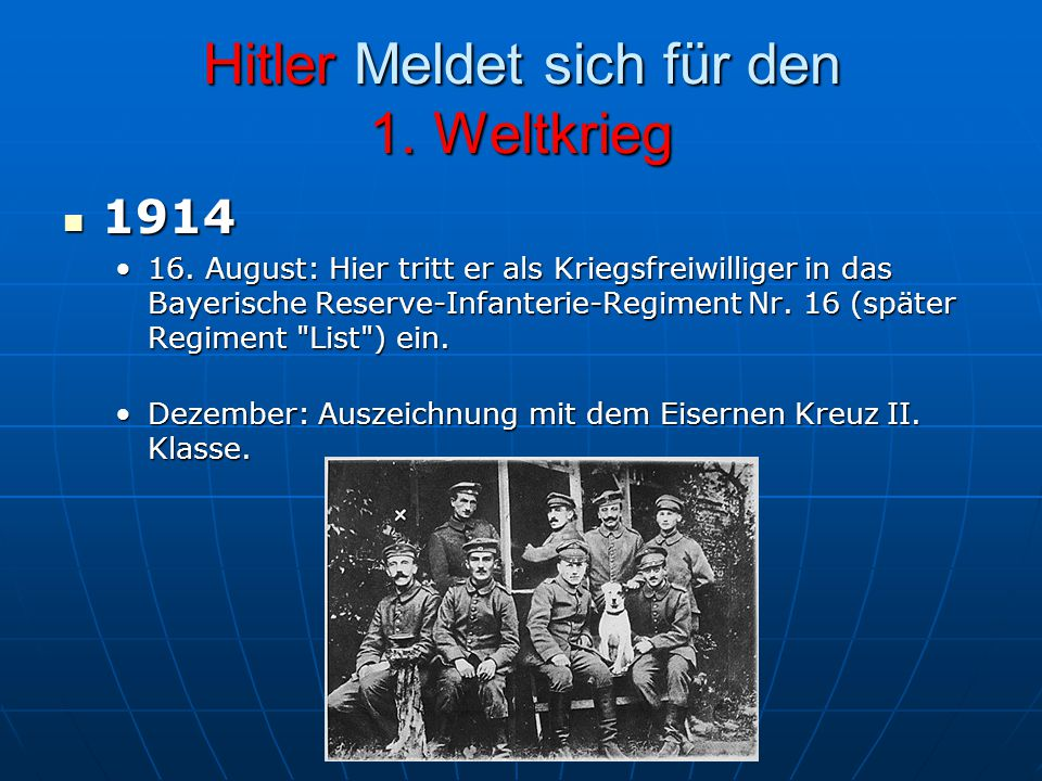 Hitler Meldet sich für den 1. Weltkrieg