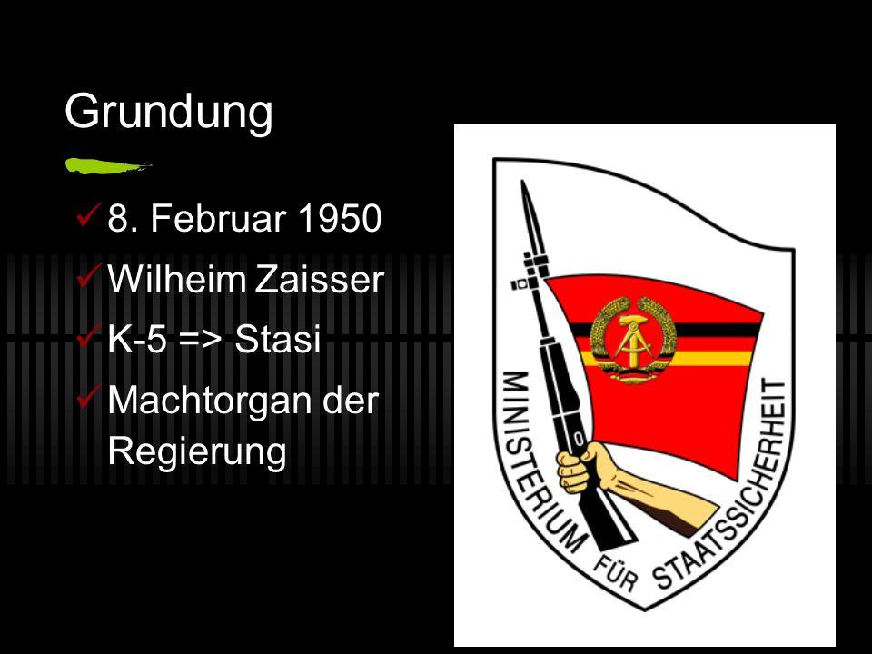 Grundung 8. Februar 1950 Wilheim Zaisser K-5 => Stasi