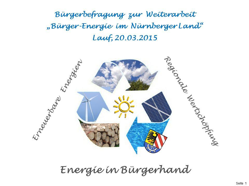 """Bürgerbefragung zur Weiterarbeit """"Bürger-Energie im Nürnberger Land"""