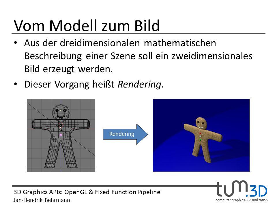 Vom Modell zum Bild Aus der dreidimensionalen mathematischen Beschreibung einer Szene soll ein zweidimensionales Bild erzeugt werden.