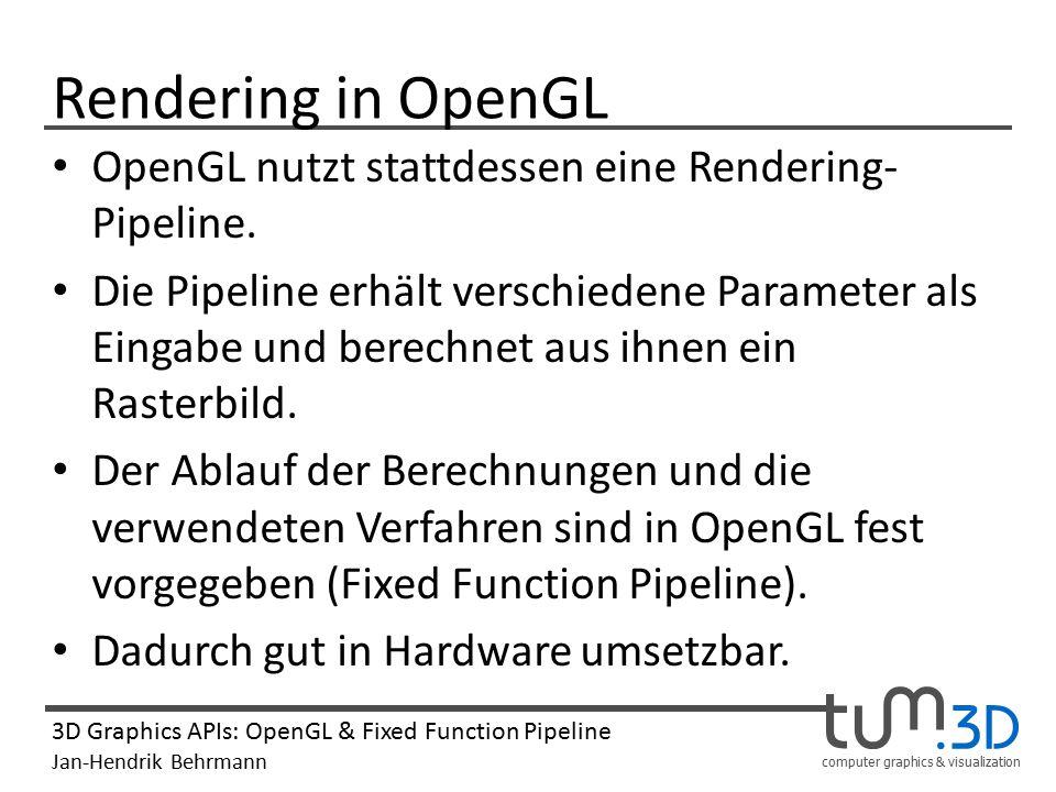 Rendering in OpenGL OpenGL nutzt stattdessen eine Rendering-Pipeline.