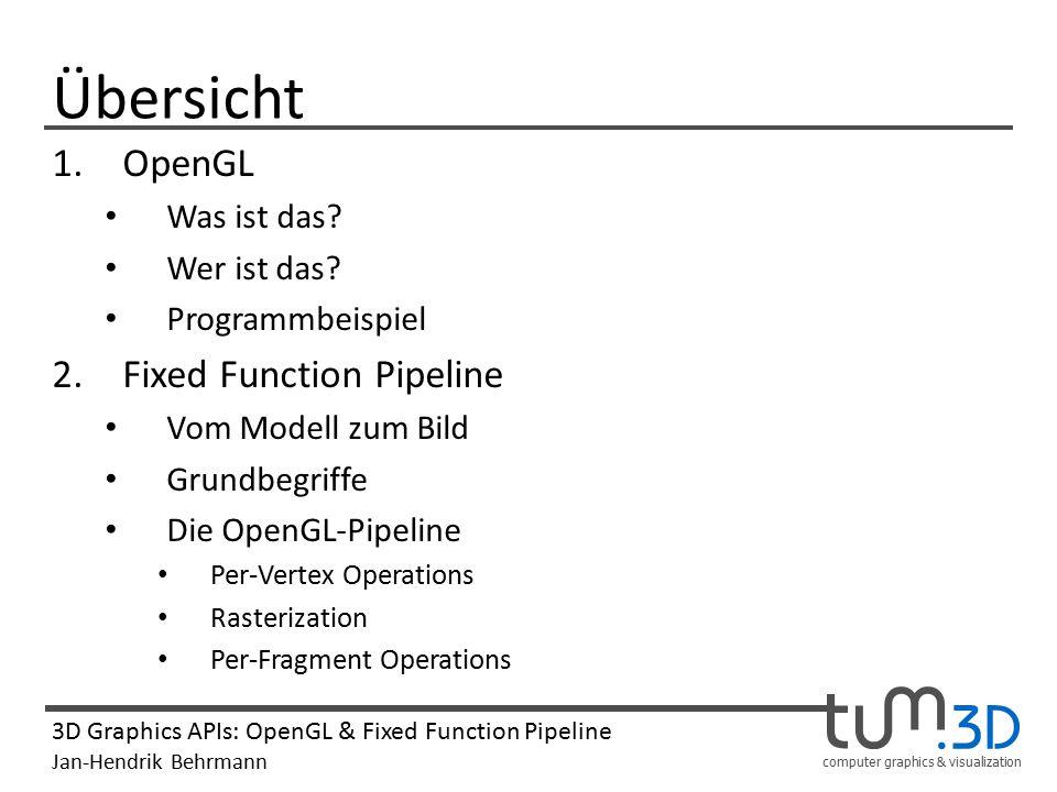 Übersicht OpenGL Fixed Function Pipeline Was ist das Wer ist das