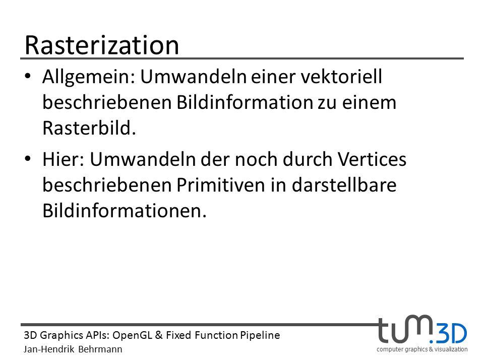 Rasterization Allgemein: Umwandeln einer vektoriell beschriebenen Bildinformation zu einem Rasterbild.