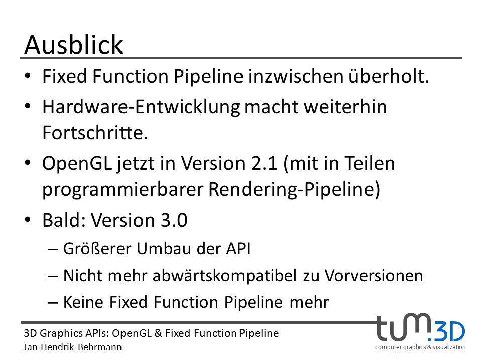Ausblick Fixed Function Pipeline inzwischen überholt.