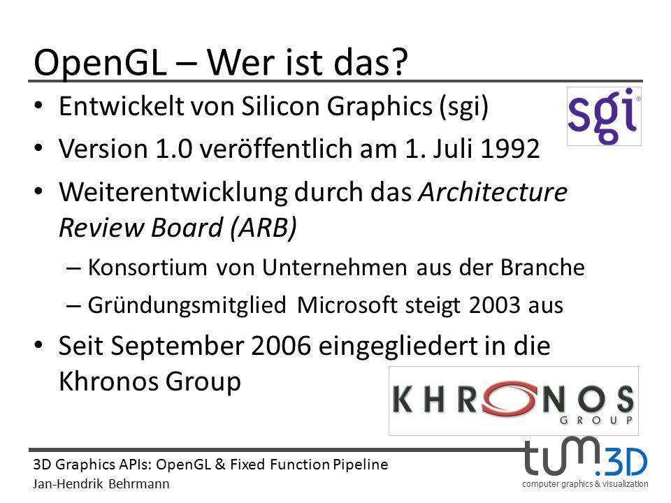 OpenGL – Wer ist das Entwickelt von Silicon Graphics (sgi)