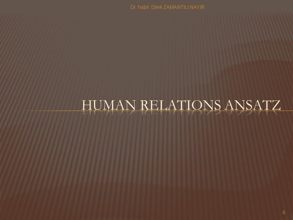 Human relations ansatz