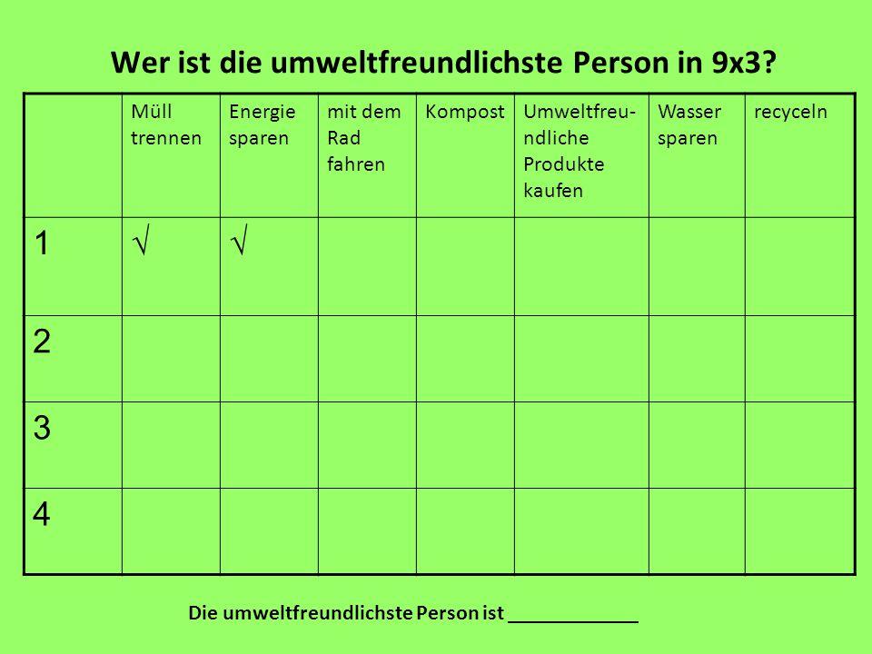 Wer ist die umweltfreundlichste Person in 9x3