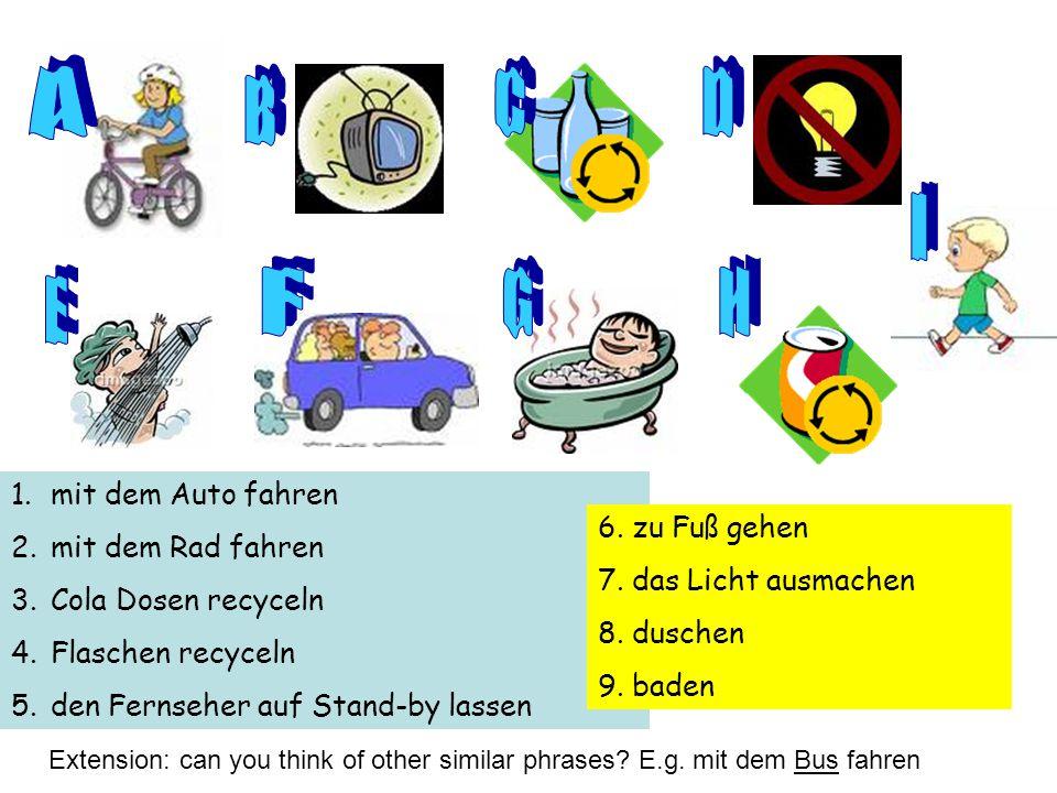 A C D B I F G H E mit dem Auto fahren mit dem Rad fahren