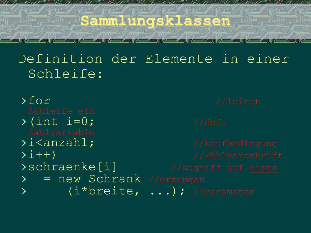 Sammlungsklassen Definition der Elemente in einer Schleife: