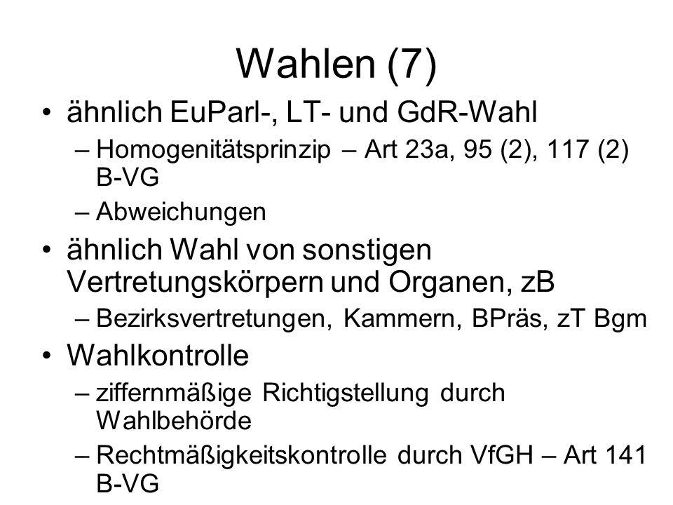 Wahlen (7) ähnlich EuParl-, LT- und GdR-Wahl