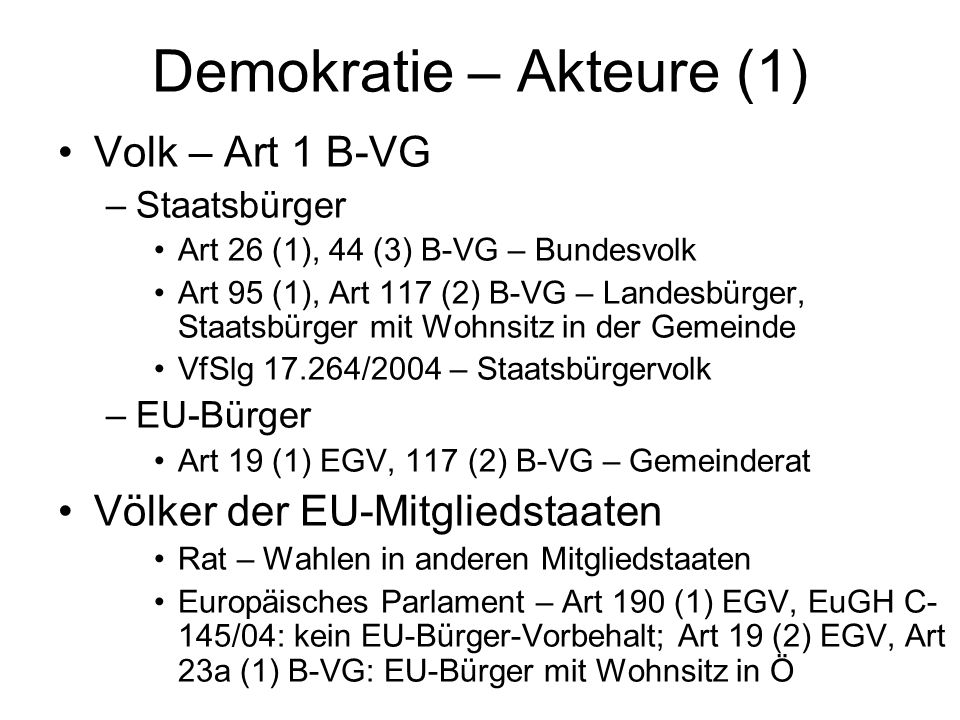 Demokratie – Akteure (1)