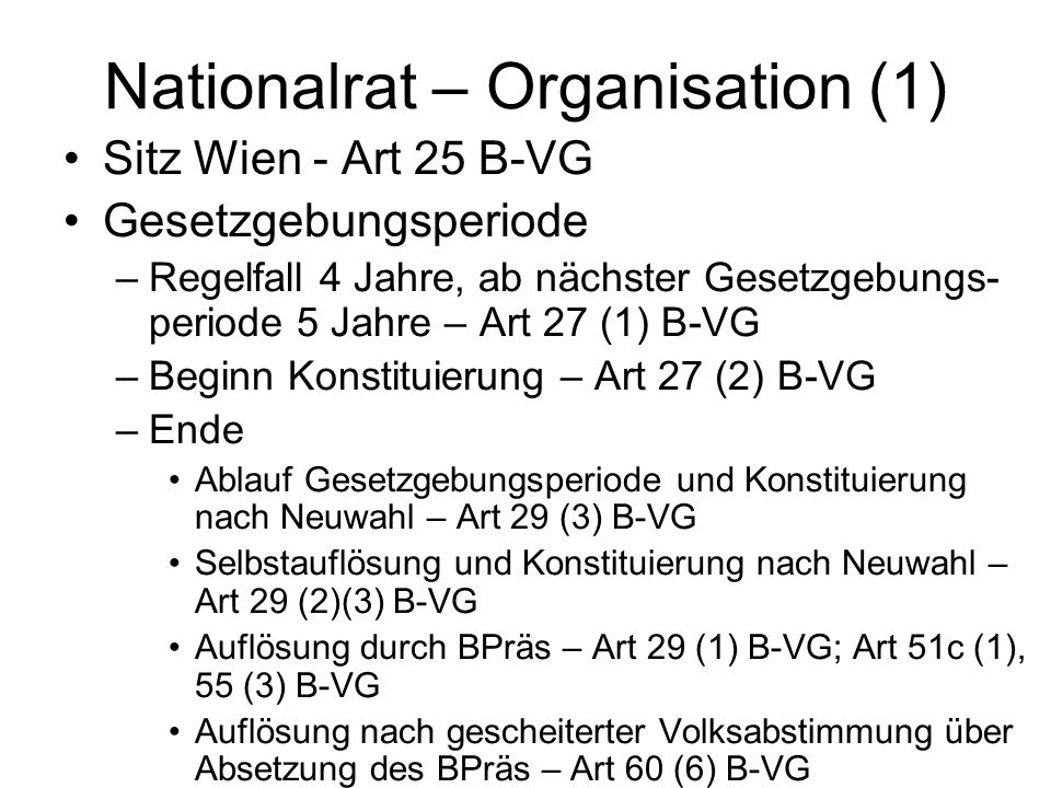 Nationalrat – Organisation (1)