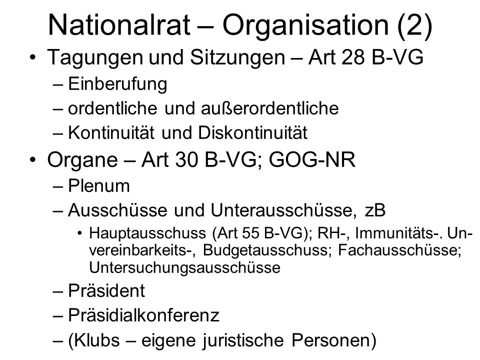 Nationalrat – Organisation (2)