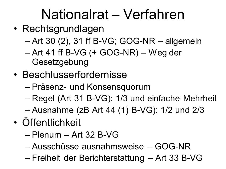 Nationalrat – Verfahren