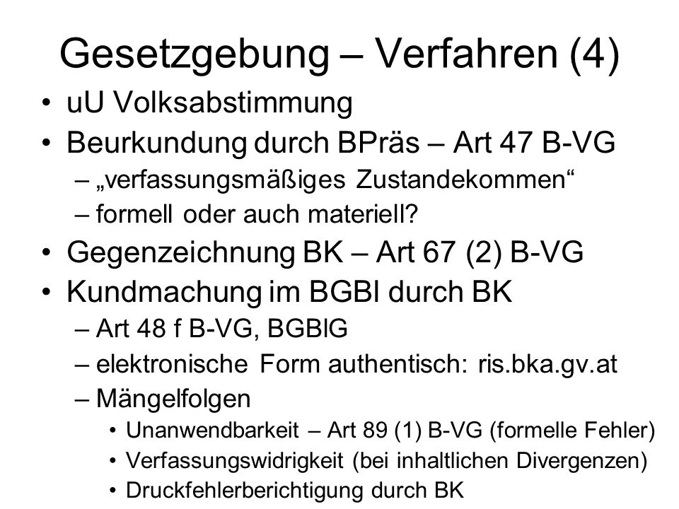 Gesetzgebung – Verfahren (4)