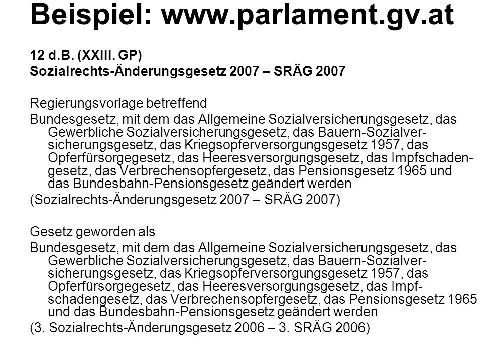 Beispiel: www.parlament.gv.at