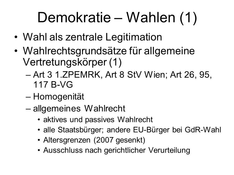 Demokratie – Wahlen (1) Wahl als zentrale Legitimation
