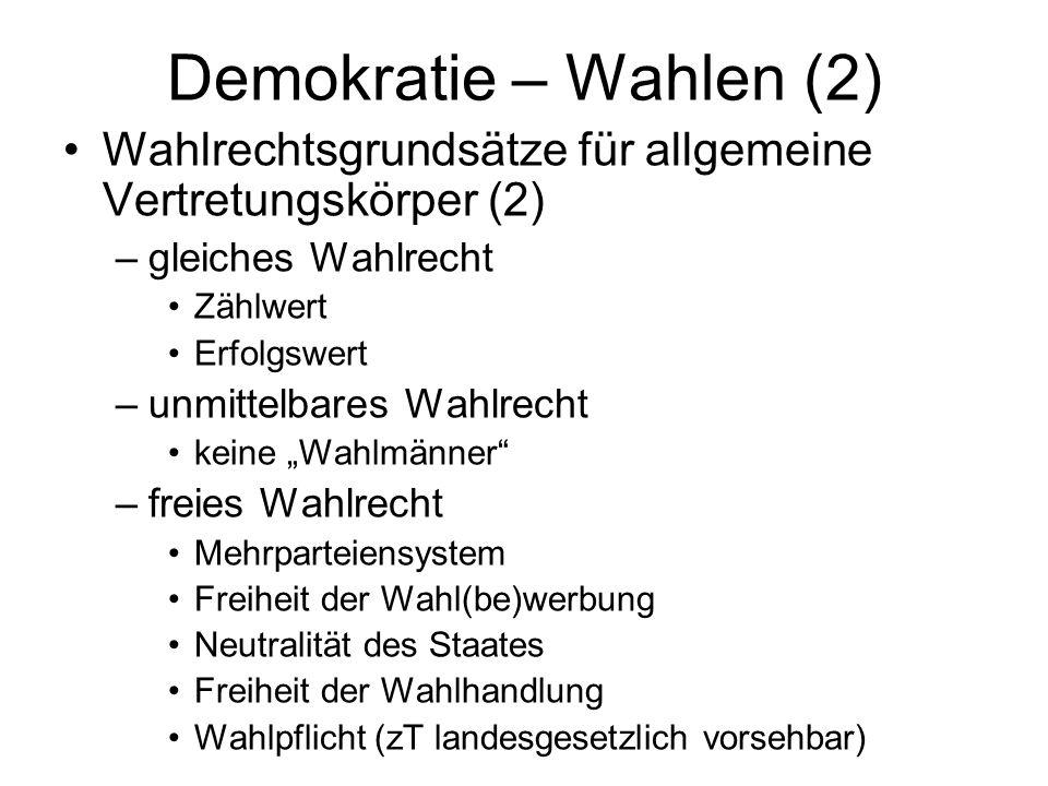 Demokratie – Wahlen (2) Wahlrechtsgrundsätze für allgemeine Vertretungskörper (2) gleiches Wahlrecht.