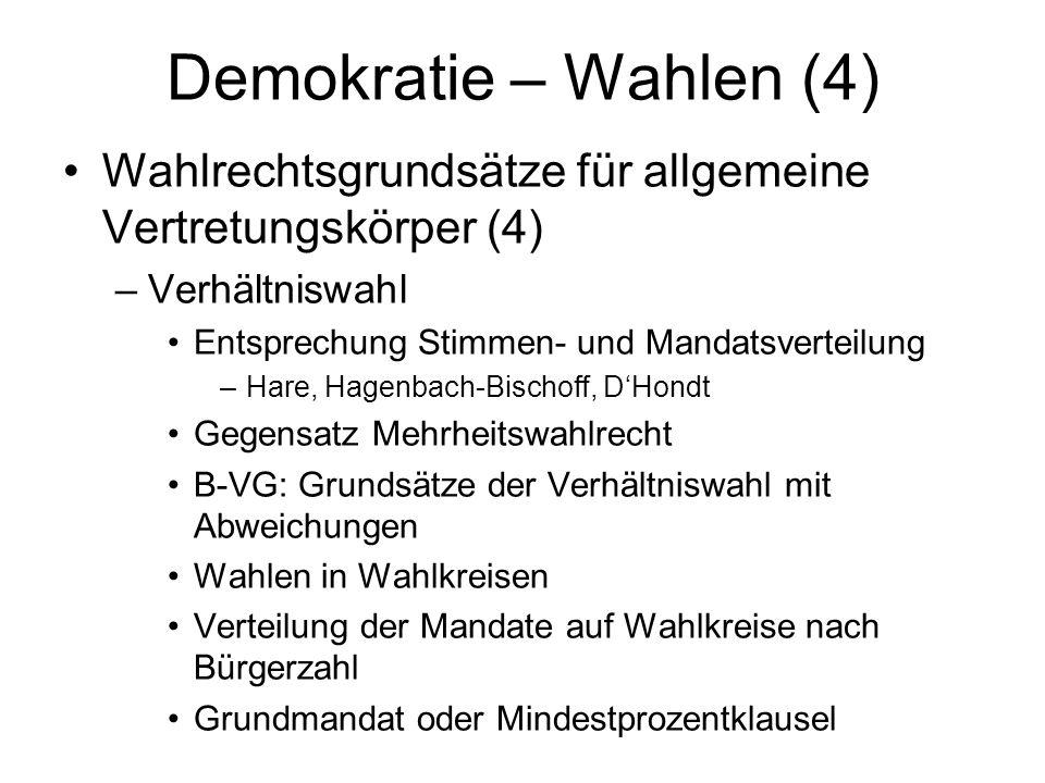 Demokratie – Wahlen (4) Wahlrechtsgrundsätze für allgemeine Vertretungskörper (4) Verhältniswahl. Entsprechung Stimmen- und Mandatsverteilung.
