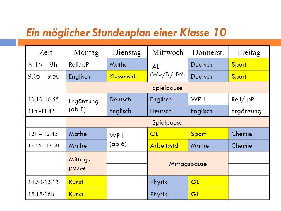 Ein möglicher Stundenplan einer Klasse 10