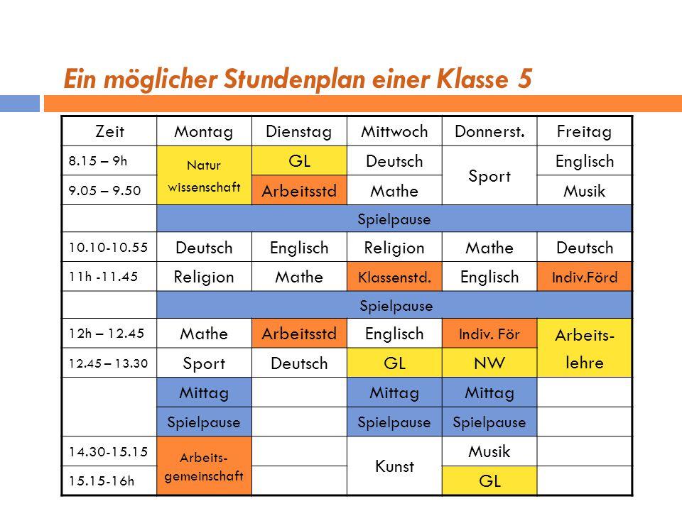 Ein möglicher Stundenplan einer Klasse 5