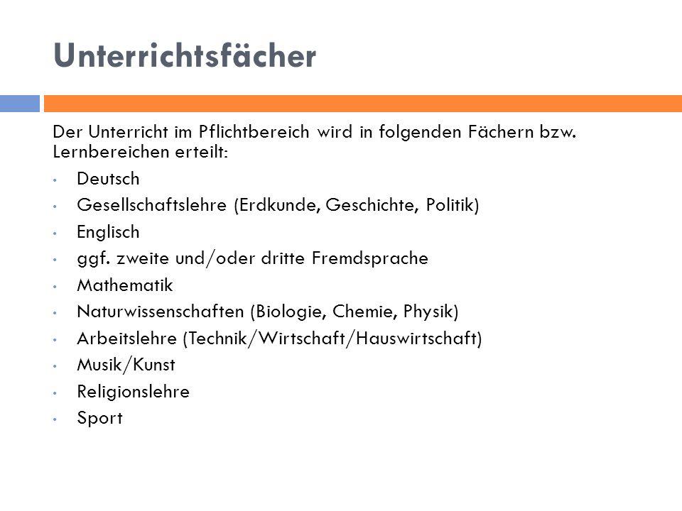 Unterrichtsfächer Der Unterricht im Pflichtbereich wird in folgenden Fächern bzw. Lernbereichen erteilt: