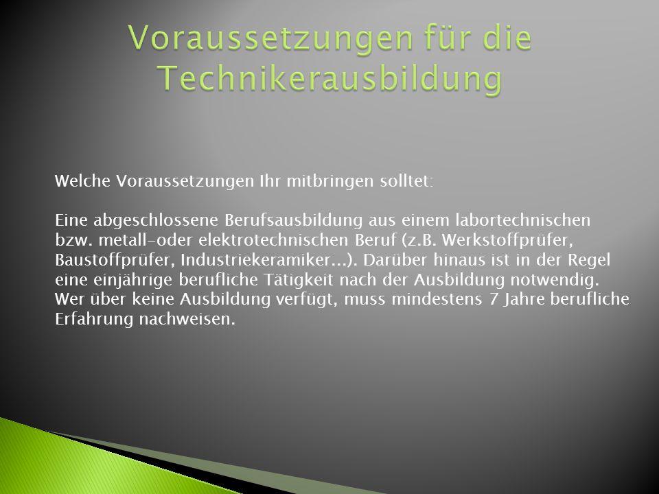 Voraussetzungen für die Technikerausbildung