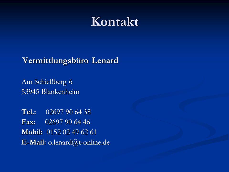 Kontakt Vermittlungsbüro Lenard Am Schießberg 6 53945 Blankenheim