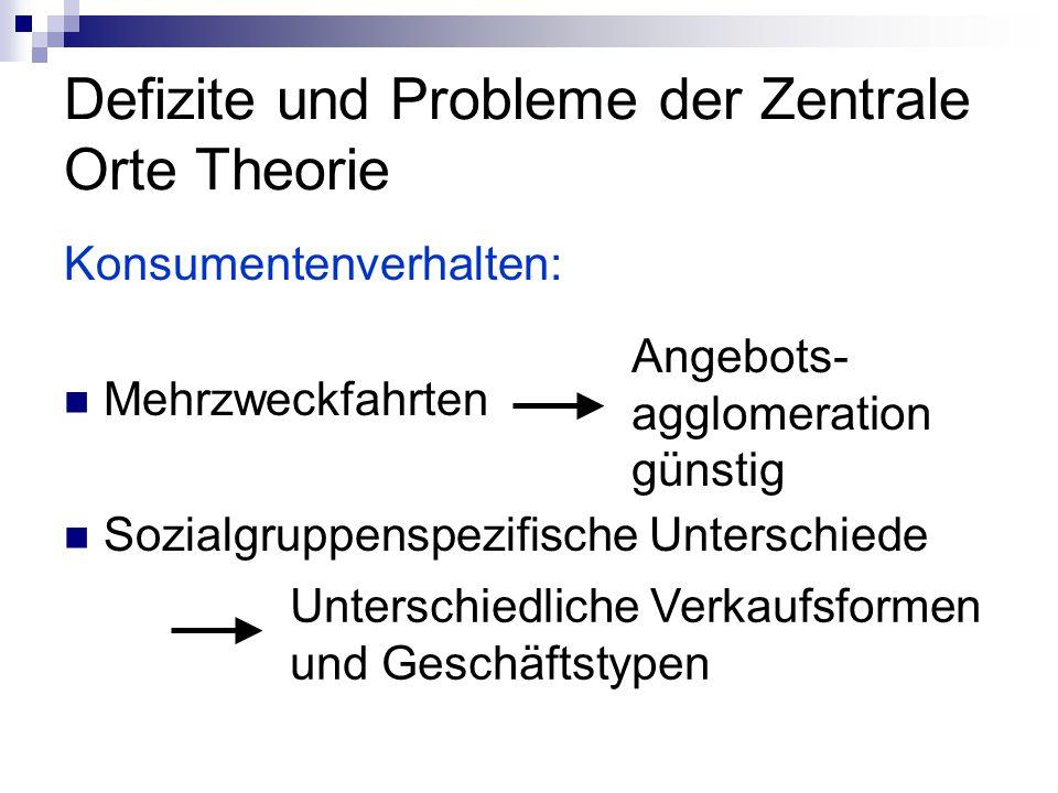 Defizite und Probleme der Zentrale Orte Theorie