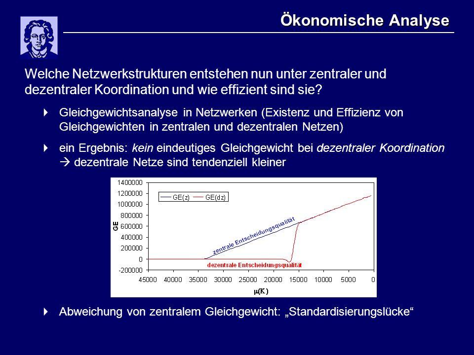 Ökonomische Analyse Welche Netzwerkstrukturen entstehen nun unter zentraler und dezentraler Koordination und wie effizient sind sie