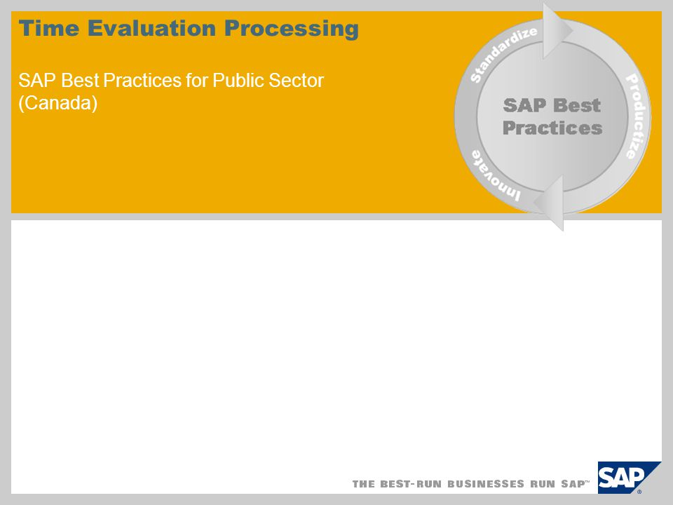 Time Evaluation Processing SAP Best Practices for Public Sector (Canada)
