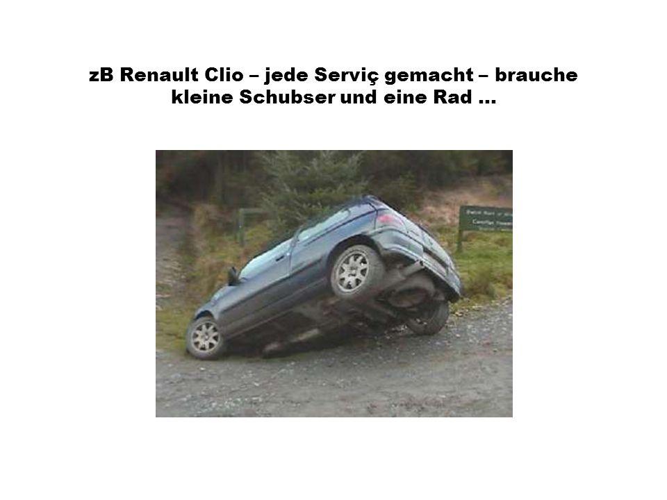 zB Renault Clio – jede Serviç gemacht – brauche kleine Schubser und eine Rad ...