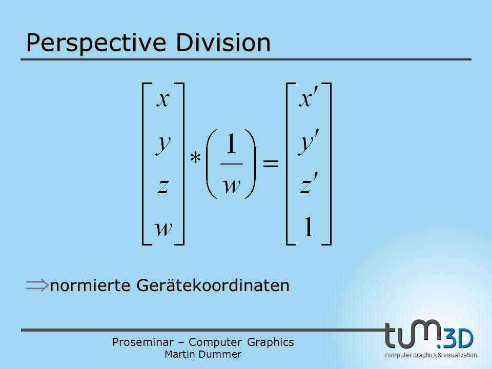 Perspective Division normierte Gerätekoordinaten