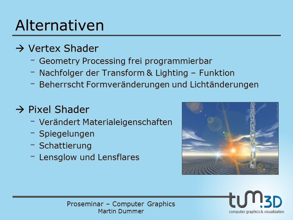 Alternativen  Vertex Shader  Pixel Shader