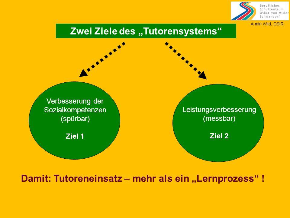 """Zwei Ziele des """"Tutorensystems"""