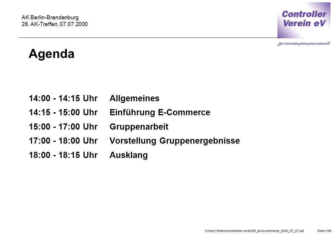 Agenda 14:00 - 14:15 Uhr Allgemeines