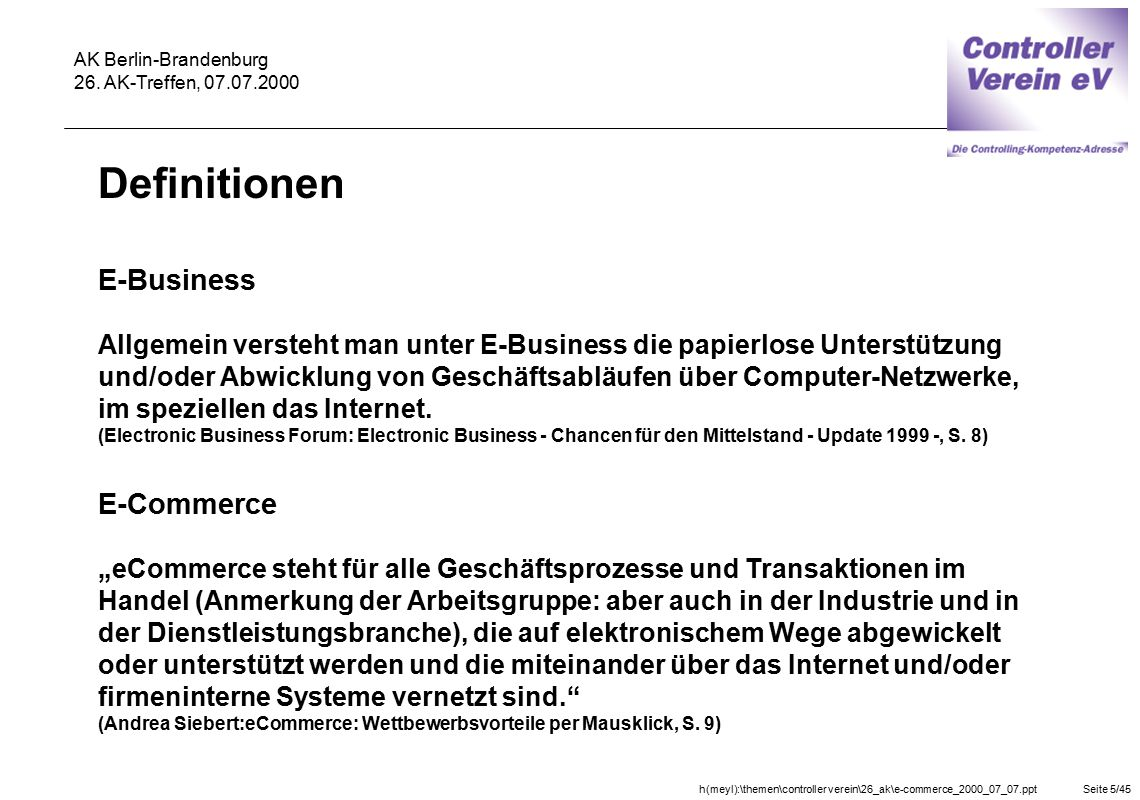 Definitionen E-Business E-Commerce