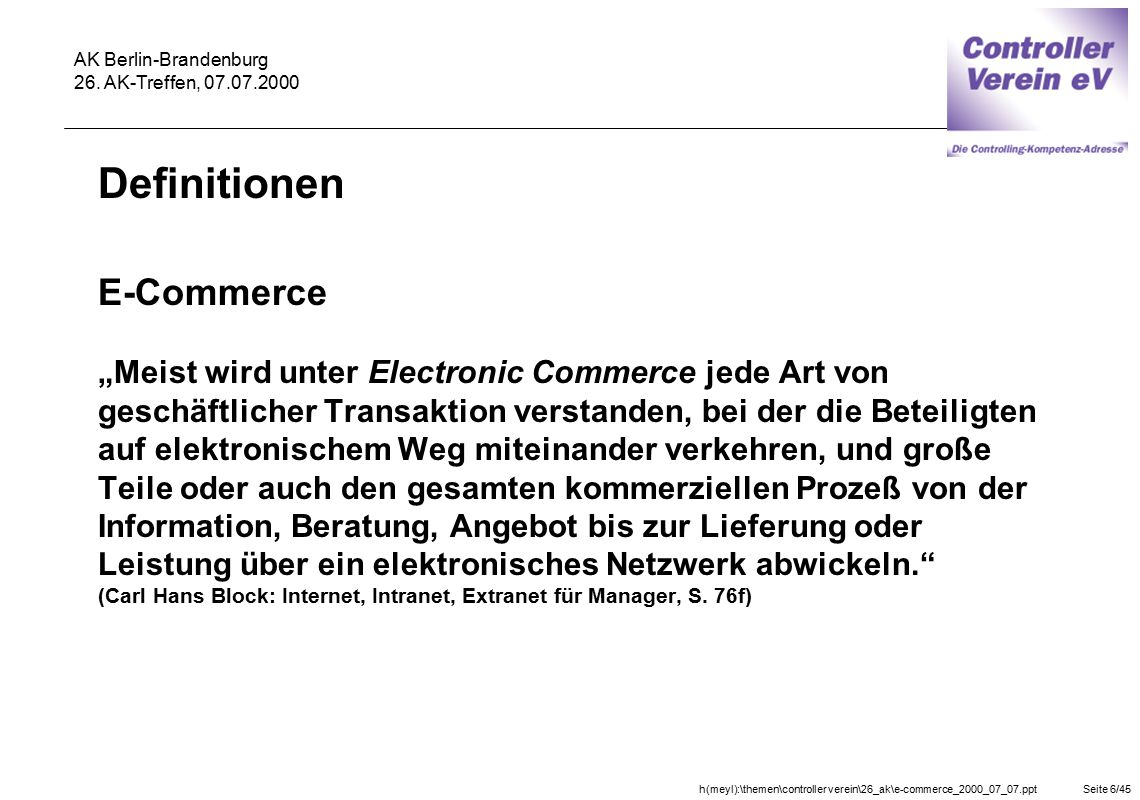 Definitionen E-Commerce