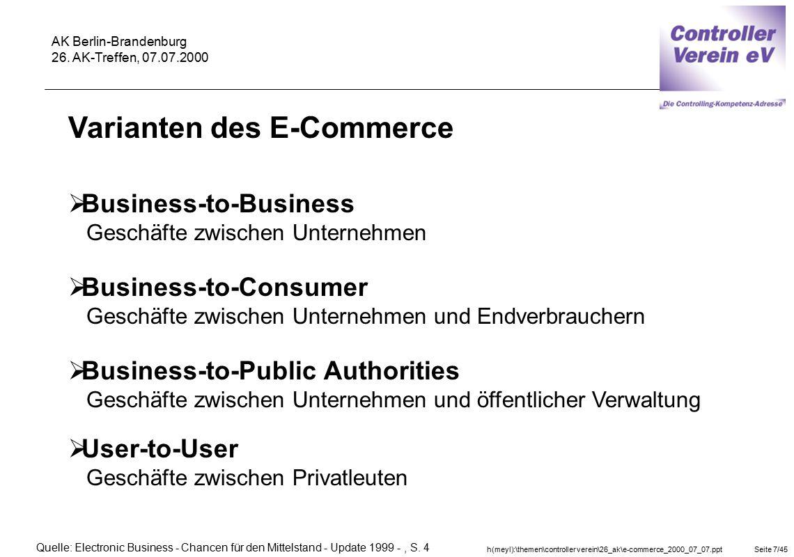 Varianten des E-Commerce