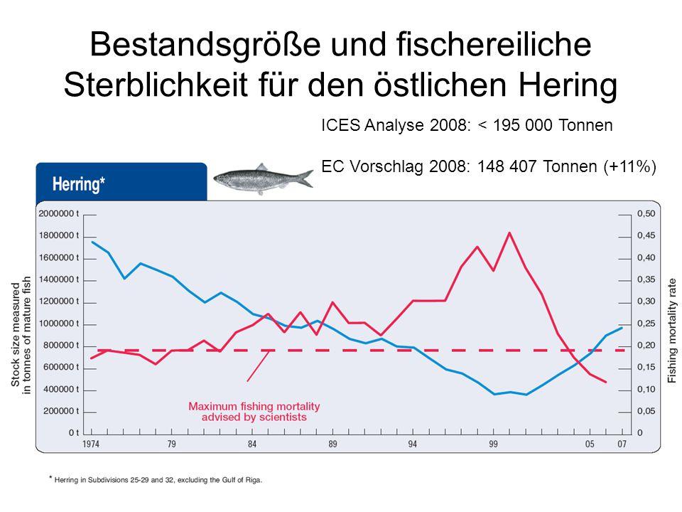 Bestandsgröße und fischereiliche Sterblichkeit für den östlichen Hering