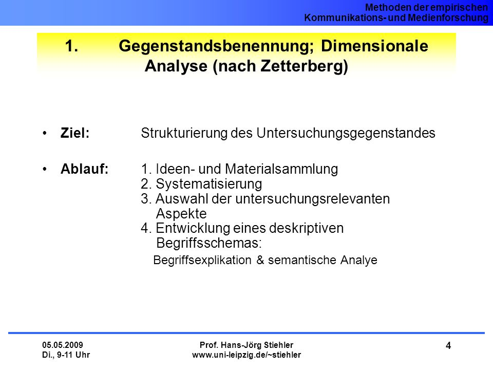 1. Gegenstandsbenennung; Dimensionale Analyse (nach Zetterberg)