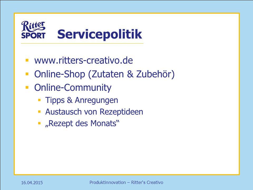 Servicepolitik www.ritters-creativo.de Online-Shop (Zutaten & Zubehör)