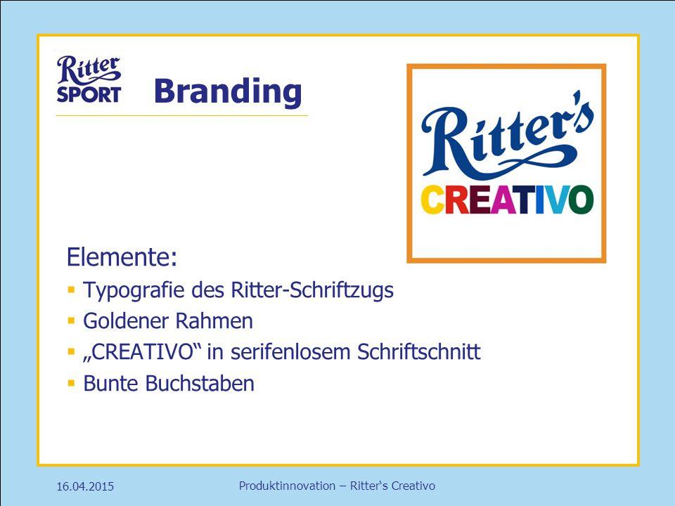 Branding Elemente: Typografie des Ritter-Schriftzugs Goldener Rahmen